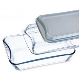 Brat- und Backschale eckig mit Glas- und Kunststoffdeckel - 2,5 l