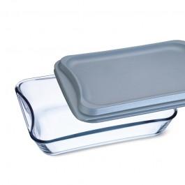 Brat- und Backschale eckig mit Kunststoffdeckel - 3,5 l