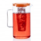 Krug mit Kunststoffdeckel orange und Eiseinsatz - 2,0 l